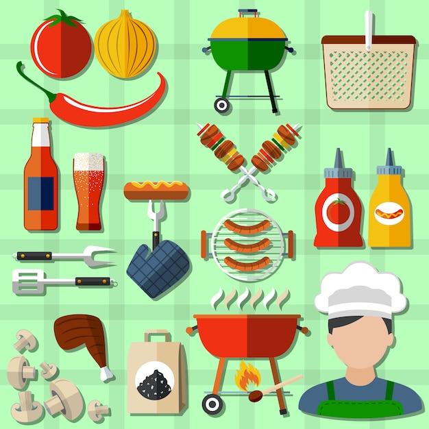 Barbecue icons set Premium Vector