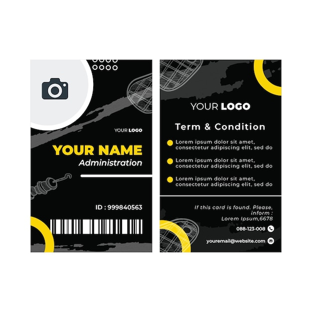 Barbecue id card template Premium Vector