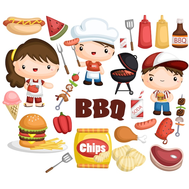 Barbecue image set Premium Vector