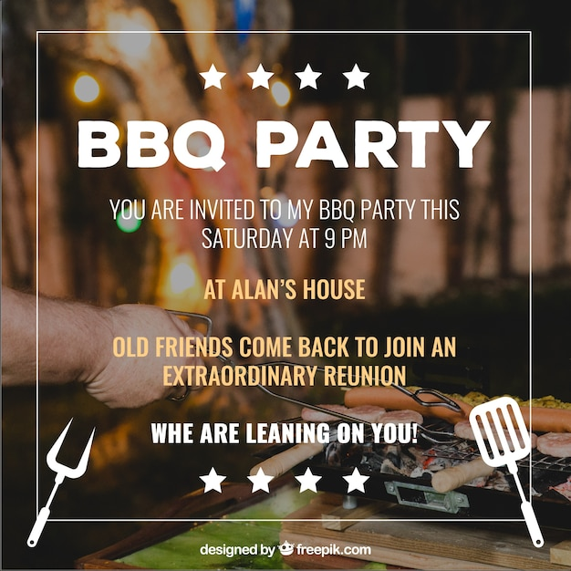Barbecue invitation, insole with stars Free Vector