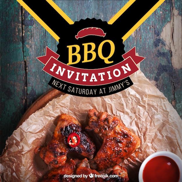 barbecue invitation template vector free download