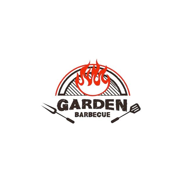 Barbecue logo design illustration Premium Vector