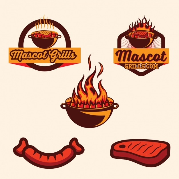 Barbecue logo template collection Free Vector