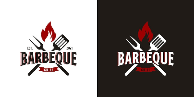 Barbecue logo with bbq logotype and fire concept Premium Vector