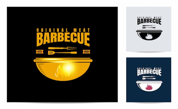 Barbecue logo with vintage concept Premium Vector