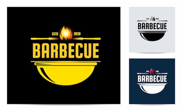 Barbecue logo with vintage concept Premium Vector