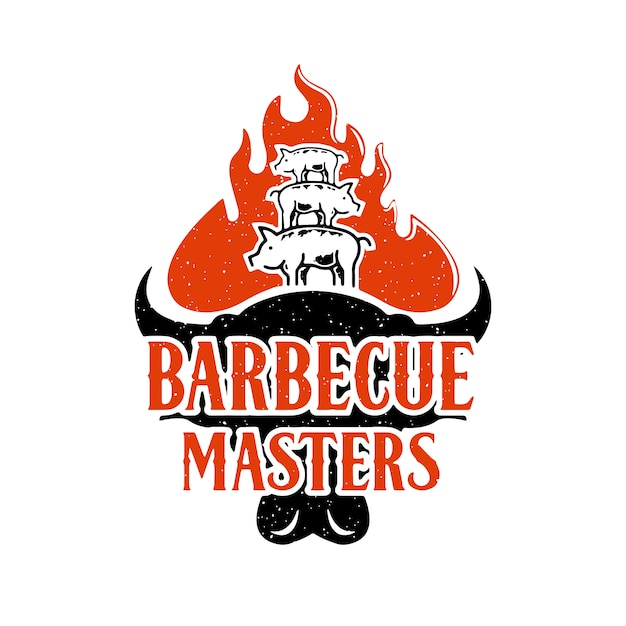 Barbecue masters logo design Premium Vector