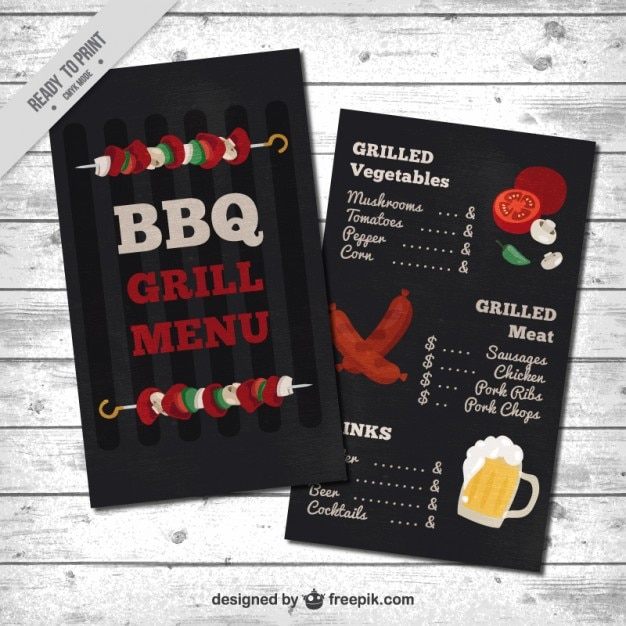 barbecue menu template vector free download