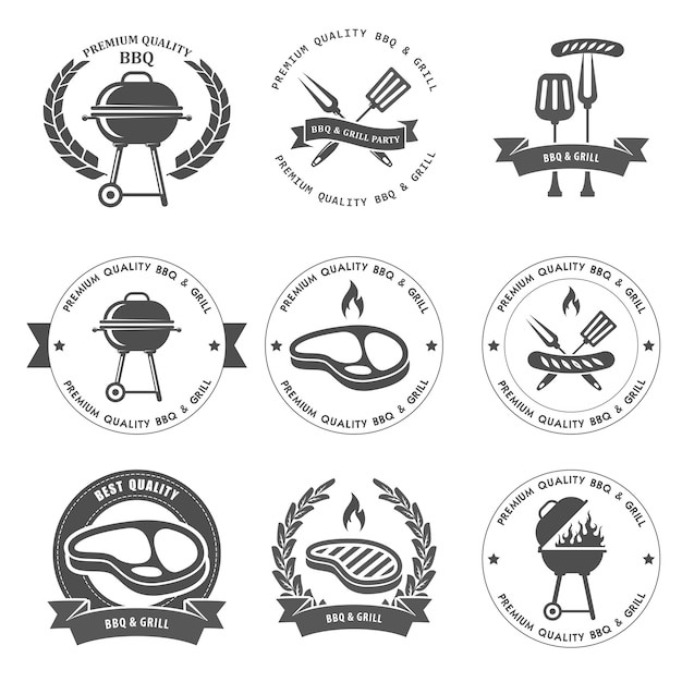 Барбекю и гриль-вечеринки эмблемы Premium векторы