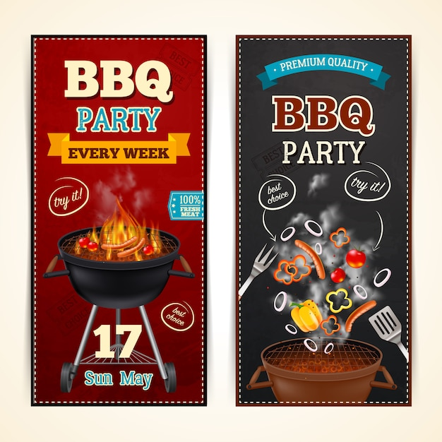 Barbecue party banners set Free Vector