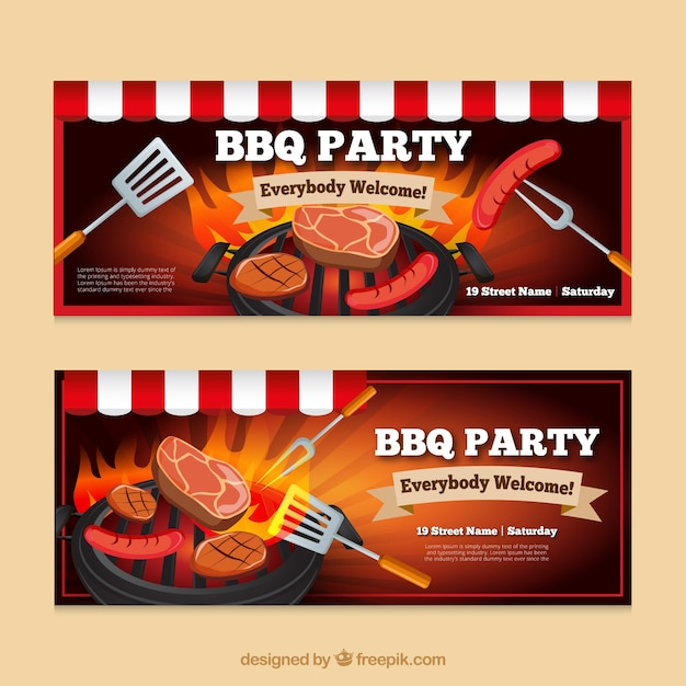 Barbecue party banners Free Vector