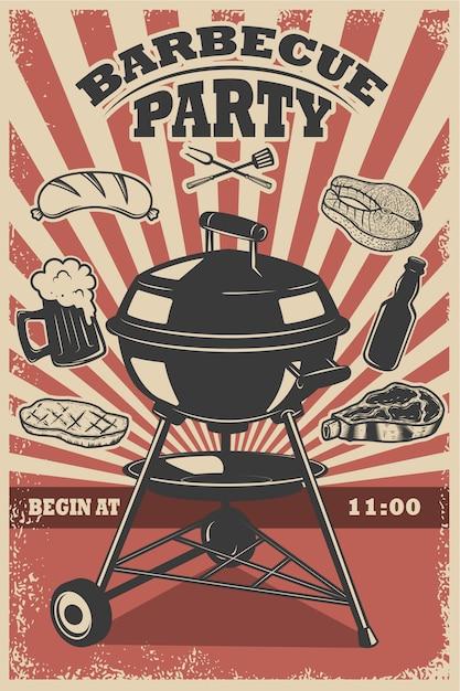 バーベキューパーティーのチラシテンプレート。グリル、火、肉のグリル、ビール、肉屋のツール。ポスター、レストランメニューの要素。図 Premiumベクター