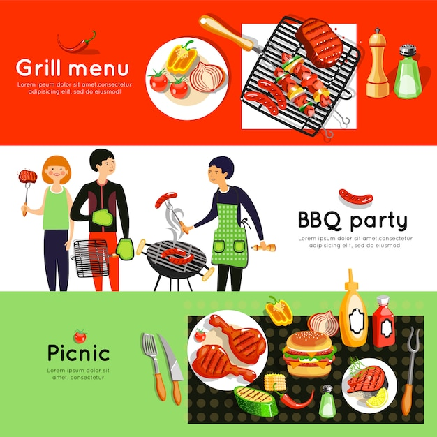 Barbecue party horizontal banners set Free Vector