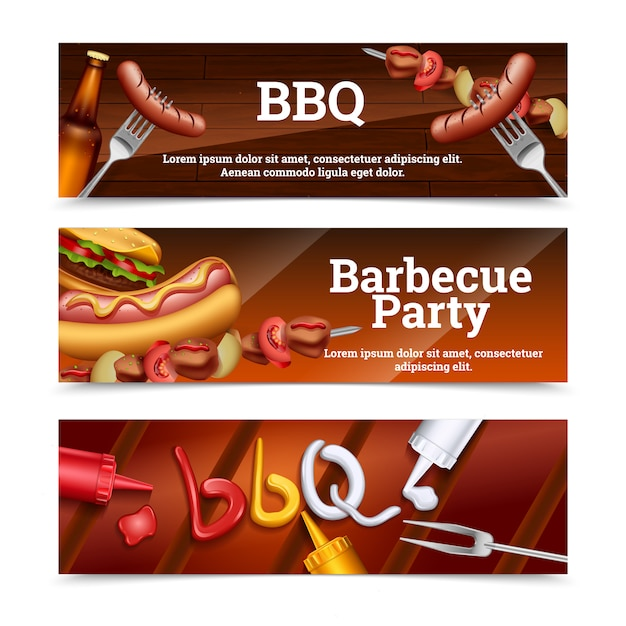 Barbecue party horizontal banners with hot dog skewer hamburger and sauce set Free Vector