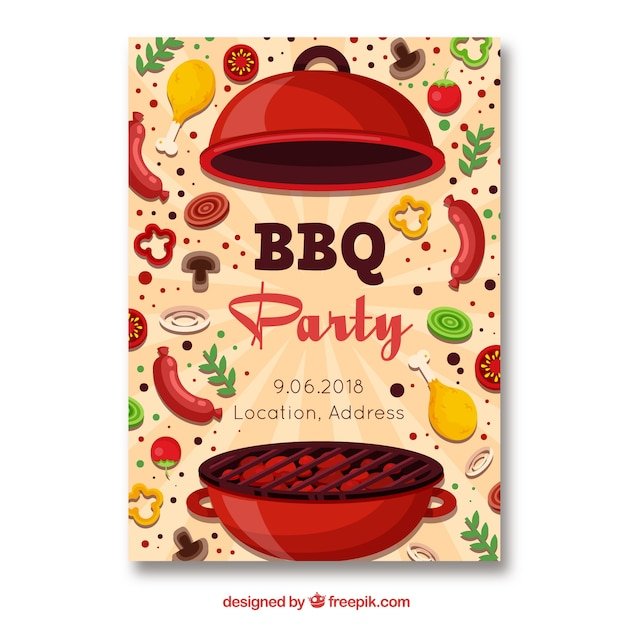barbecue party invitation in flat style vector free download