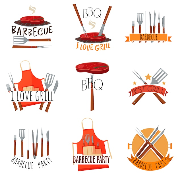 Barbecue party label set Free Vector