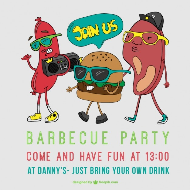 barbecue party poster cartoon vector vector free download