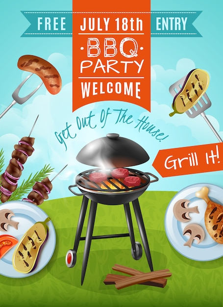 Barbecue party poster Free Vector