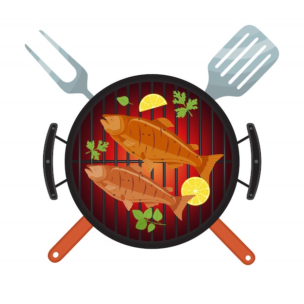 Barbecue party, salmon fish on grill Premium Vector