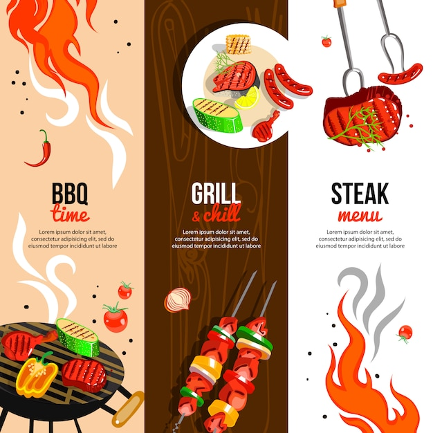 Barbecue party vertical banners set Free Vector