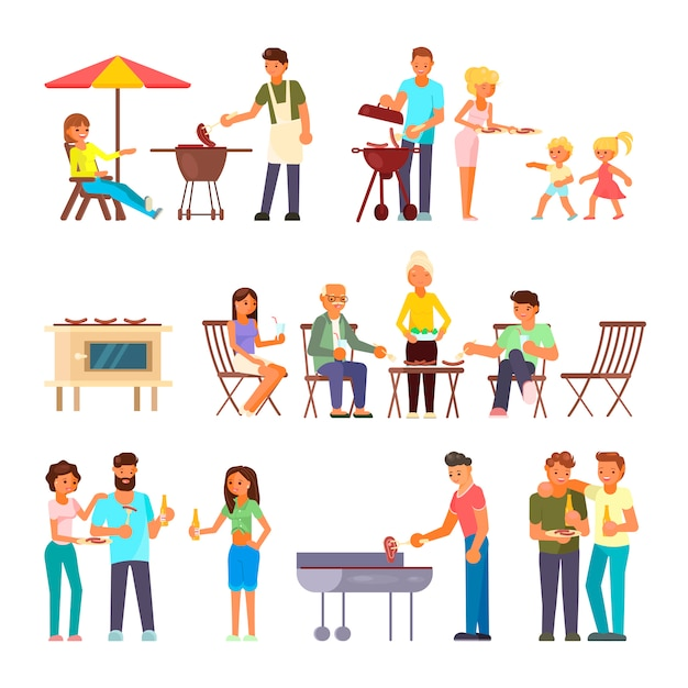 Barbecue people characters Premium Vector