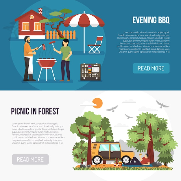 Barbecue and picnic banners Free Vector
