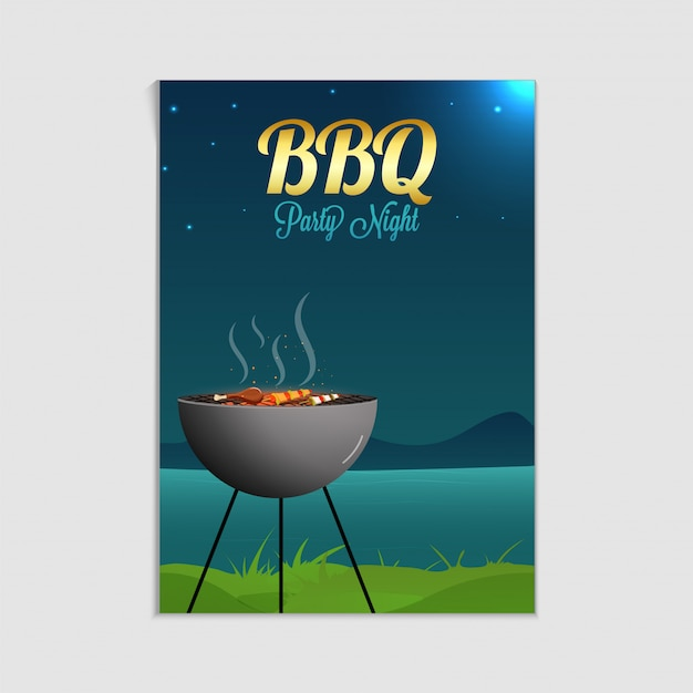 barbecue poster flyer template or invitation design vector