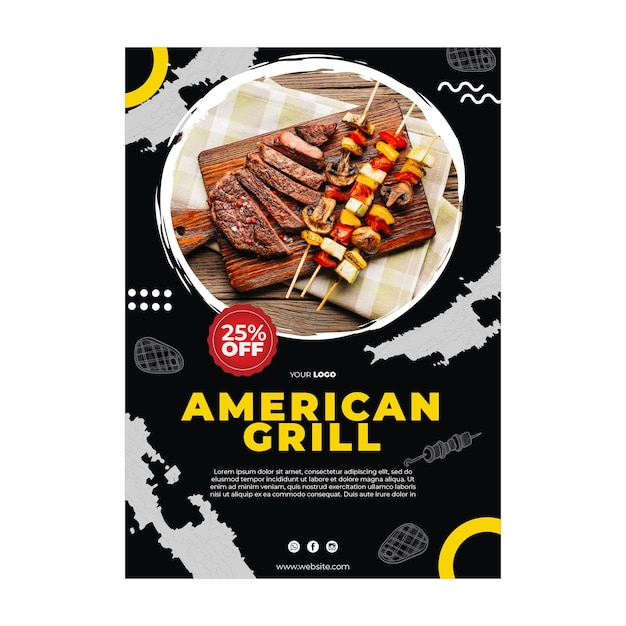 Barbecue poster template Premium Vector