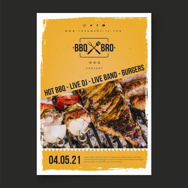 Barbecue poster template Free Vector
