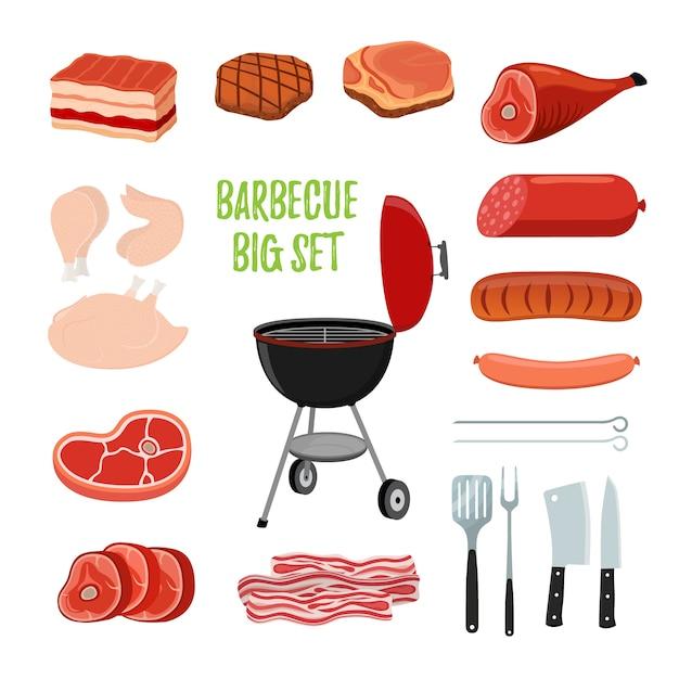 Набор для барбекю - различное мясо, стойка для барбекю Premium векторы