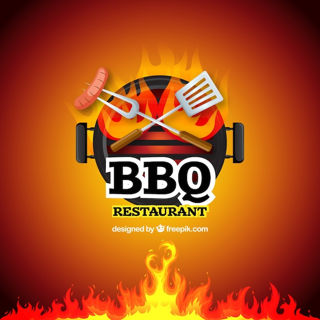 Barbecue specialty sign vector background Free Vector