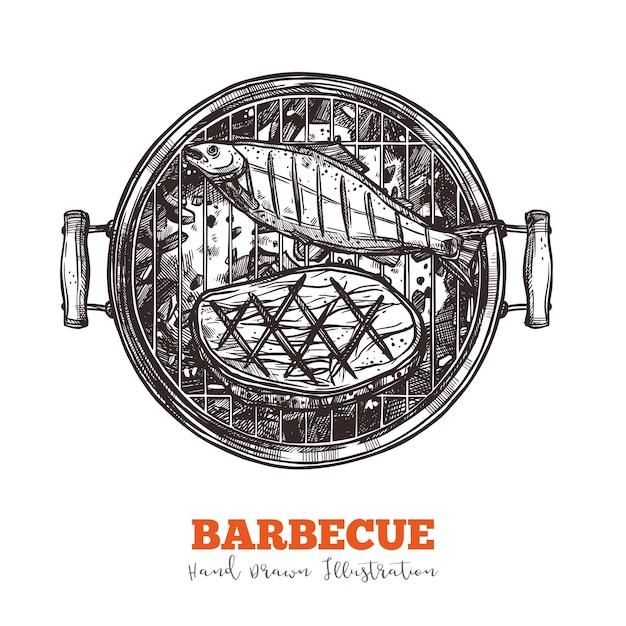 魚とビーフステーキのスケッチが入ったバーベキュートレイ Premiumベクター