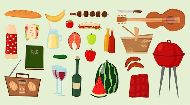 バーベキューベクトルアイコン食品バーベキューグリルキッチン屋外家族時間料理イラスト Premiumベクター