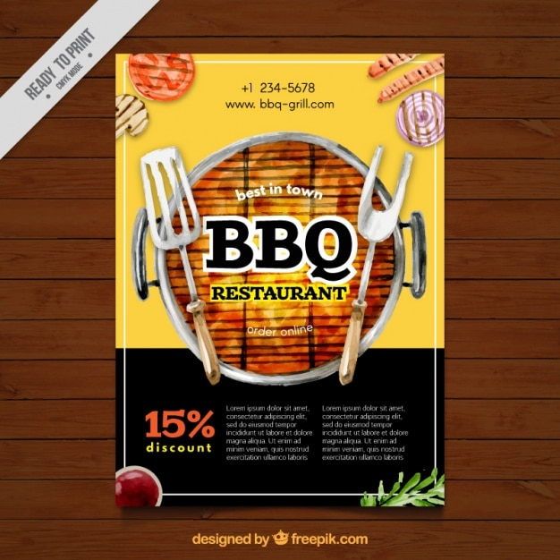 Barbecue watercolor brochure Free Vector