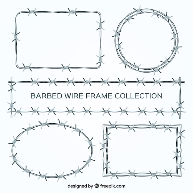 Barbed wire frame set of five Vector | Free Download