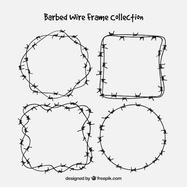Barbed wire frame set of four Vector | Free Download