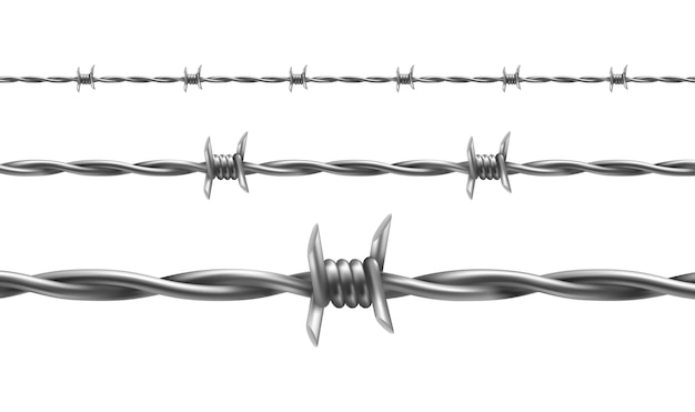 Barbed wire illustration, horizontal seamless pattern with twisted barbwire Free Vector