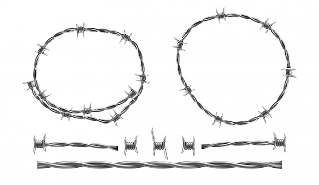 Barbed wire realistic illustration, separate elements of barbed wire Free Vector