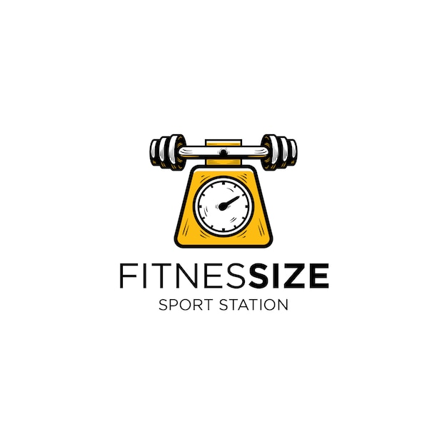 Barbel of fitness and weight measuring instrument logo template Premium Vector