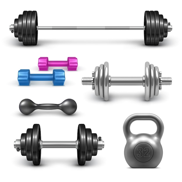 Barbell, dumbbells and kettlebell set. fitness gym and bodybuilding  weight equipment set. sport workout realistic  illustration isolated on white background Premium Vector