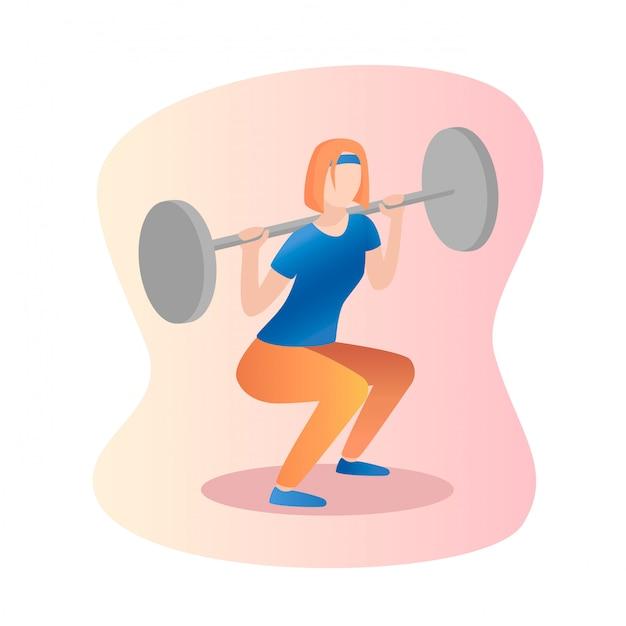 Barbell squat women Premium Vector