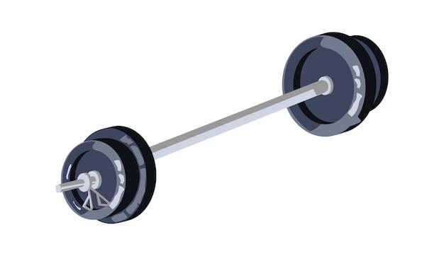 큰 무게, 체육관에서 스포츠 훈련을위한 장비, 만화 벡터 일러스트와 함께 바벨 무료 벡터