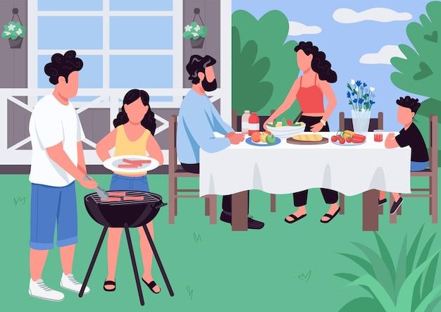 Барбекю плоские цветные рисунки. барбекю на заднем дворе дома. барбекю для родителей и детей. праздничная деятельность. кавказская семья 2d героев мультфильмов с пейзажем на фоне Premium векторы
