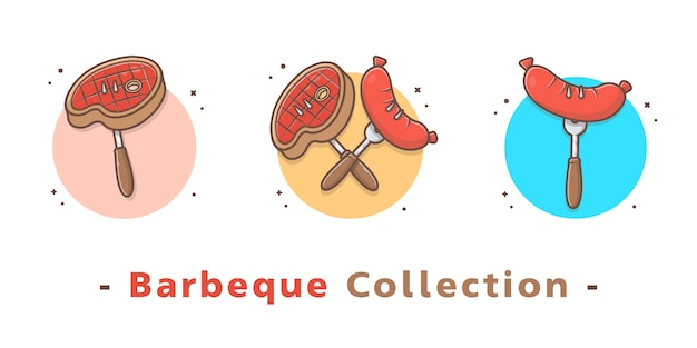 Barbeque food collection Premium Vector