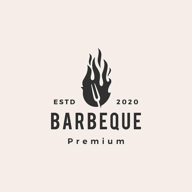 Barbeque fork fire hipster vintage logo Premium Vector