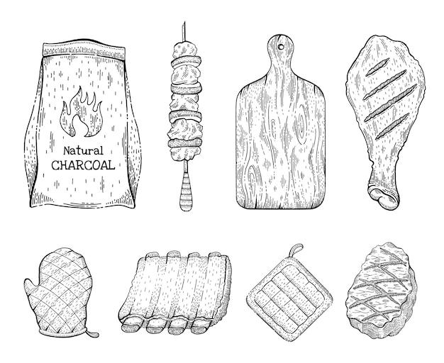 バーベキューグリルスケッチアイコンセット。ビーフステーキケバブチキンレッグ石炭バッグカットボードグローブポークリブパンホルダー。 Premiumベクター
