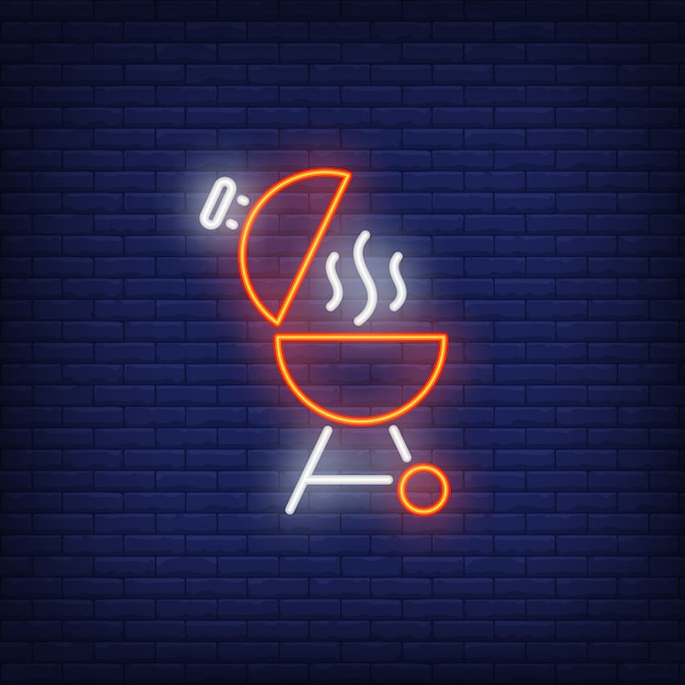 Barbeque grill with open lid and smoke neon sign Free Vector