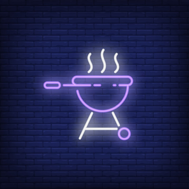 Barbeque grill with smoke neon sign Free Vector