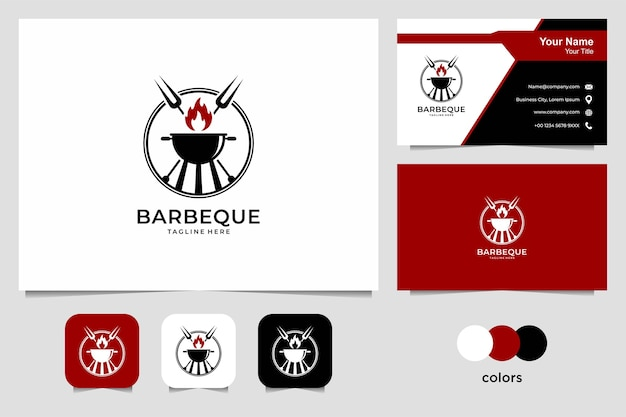 Barbeque logo design and business card. good use for restaurant, food and drink logo Premium Vector