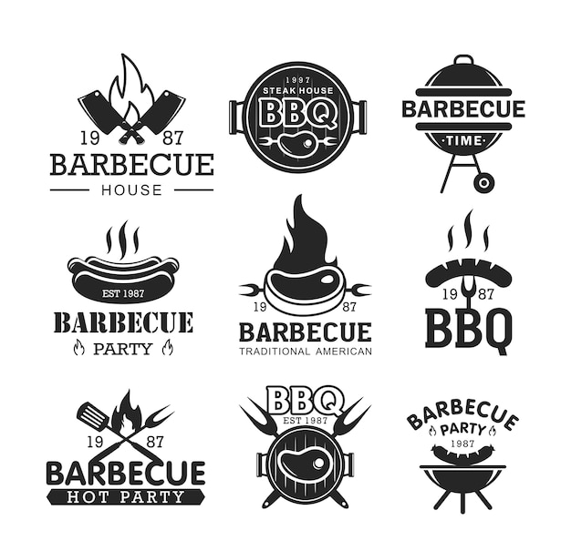 Barbeque party black and white  logo set bbg logotypes collection isolated on white background Premium Vector